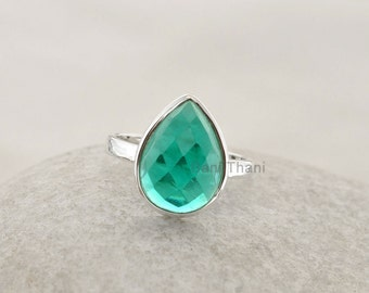 Teal Quartz Ring Faceted Pear 10x14mm Gemstone Ring 925 Sterling Silver Bezel Ring Jewelry - #1049