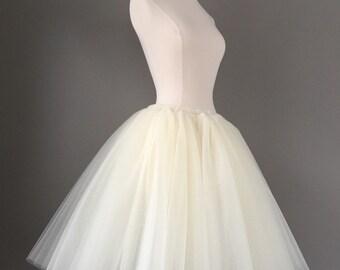 Tulle skirt - ivory tutu- Adult Bachelorette Tutu- white tulle skirt-any color- any length