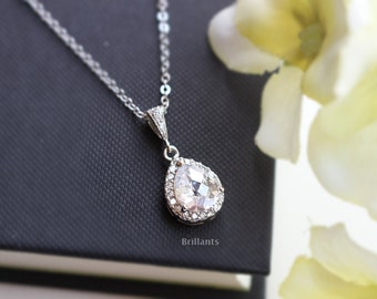 Clear cz necklace in silver, Bridesmaid jewelry, Everyday necklace, Wedding necklace