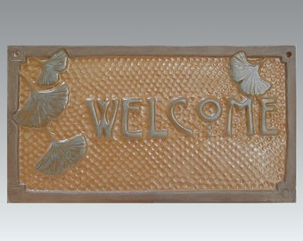 Gingko Welcome Sign/Arts and Crafts sign with butterscotch glaze. Perfect for a Craftsman Bungalow or Mission style home