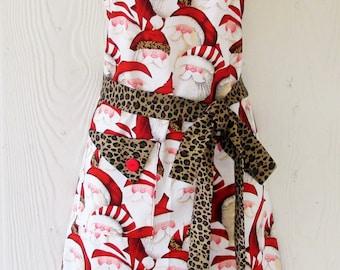 Christmas Apron , Santa Claus , Leopard Print , Retro Christmas Full Apron , Women's Retro Style Apron , KitschNStyle