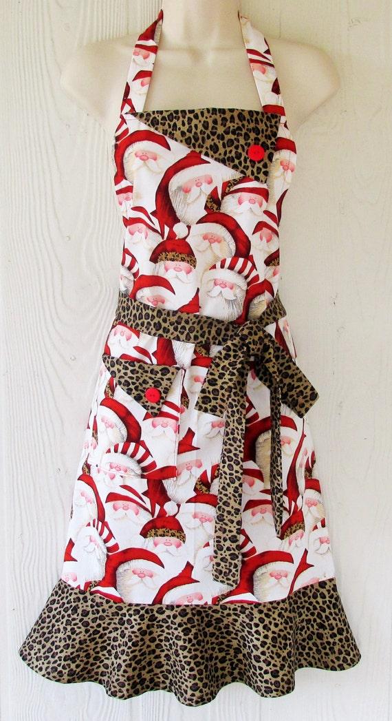 Christmas apron santa claus leopard print retro