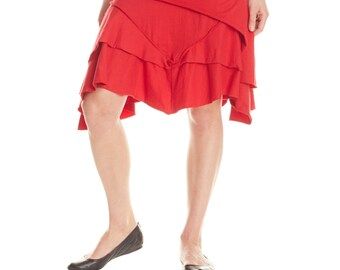 Pirate Skirt M101-Bright (asymmetrical skirt, knee skirt, layer skirt, traveling skirt, festival, bright color, dancing)