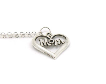 Mom Heart Necklace, Love Mom Heart, Dainty Mom Necklace,  Charm Jewelry, Heart Pendant, Silver Heart Jewelry, Mother Gift, Gift Under 10