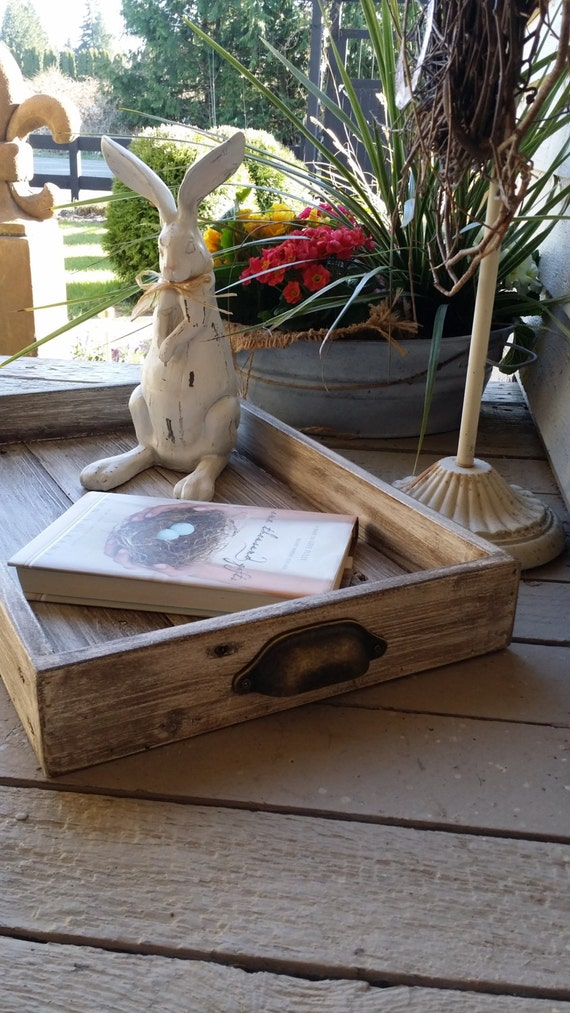 Items Similar To Wood Tray Antiqued Rustic 20 X 12 Wood