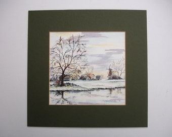 1980s Christine Fox Painting Vintage Art OOAK Vintage Watercolor Signed Painting Vintage Snow Scene Vintage Landscape Painting