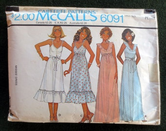 1978 Sleeveless Ruffled Dress Vintage Pattern, McCalls 6091, Size 6, 8, Bust 30 1/2, 31 1/2