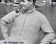 Mens Knitting Pattern 1950s Mens Zipper Jacket Button Shawl Collar Cardigans DK Cardigans Zip Cardigan 40-42 inch Zip 42-44 inch Button PDF