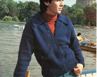 PDF Mens Sweater Pattern / Patchwork Sweater / Bulky Knit Sweater / Vint...