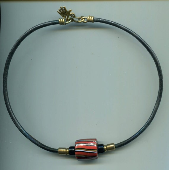 """SINGLE BEAD CHOKER 16"""" Cylindrical Red Striped Artisan Glass Bead & Brass Tube on Leather Cord with Brass Hook Clasp. Men, Women, Unisex"""