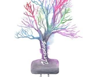 Watercolor Tree, Unplug, Unplugged, Watercolor Unplugged, Nature Painting, Tree Painting, Colorful Tree, 8x10, print, Home Decor, Wall Art