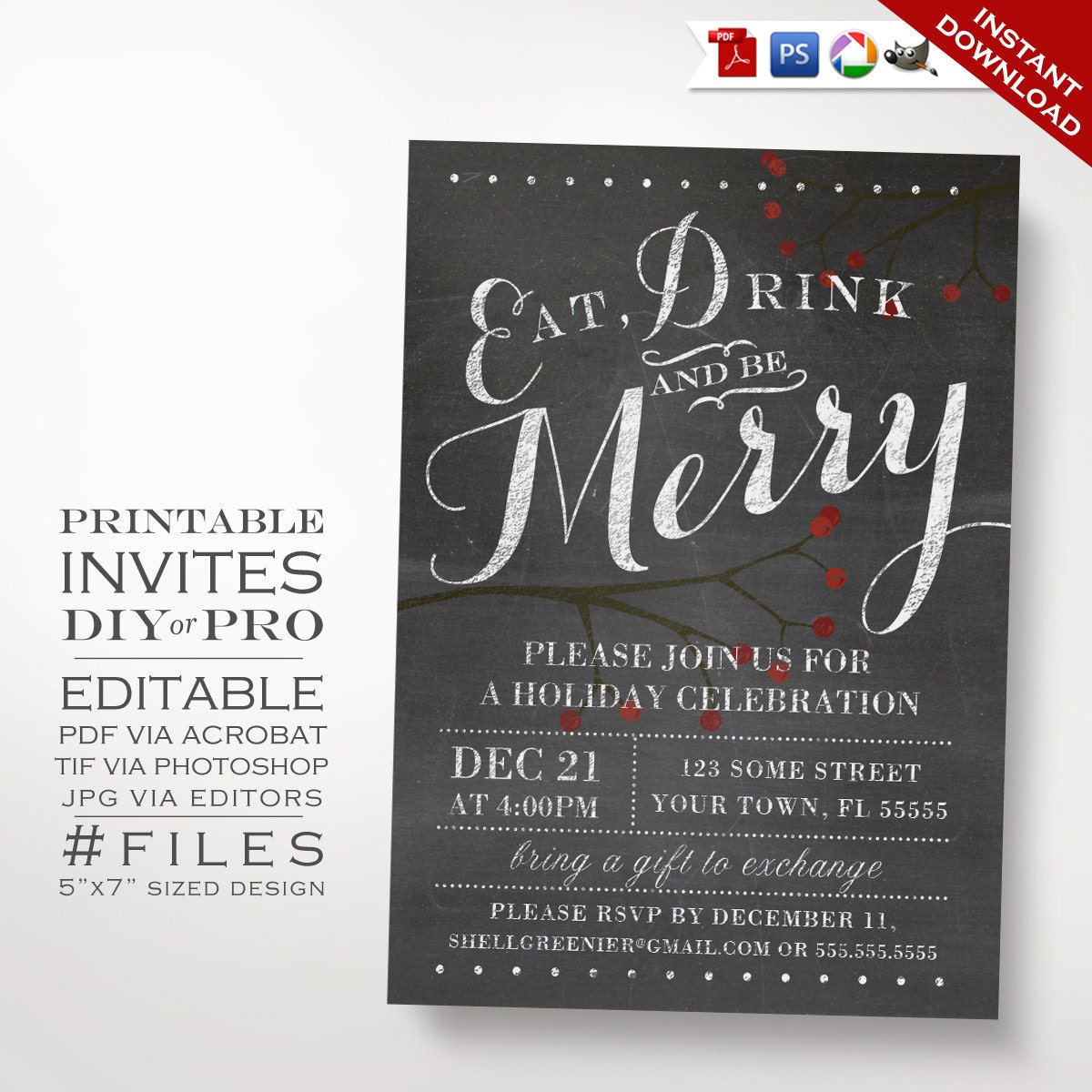 holiday party invite christmas invitation template winter chalkboard holiday party invitation printable diy christmas party invitation editable holiday event