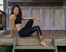 Nymph Leggings - BLACK - Women Yoga Pants, Leggings, Capris style, 3/4lenght, criss-cross lace up, ecoluxe