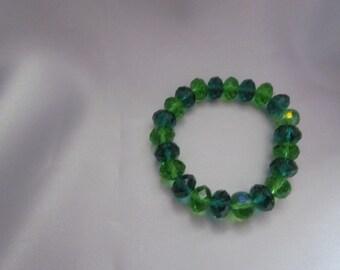 Green Crystal  Stretch Bracelet