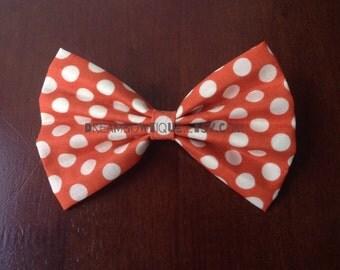 Orange Polka Dot Hair Bow, Orange Hair Bow