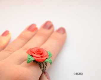 Polymer Clay Rose Ring, Handmade Statement Rose Ring, Romantic Rose Filigree Ring, Rose and Leafs Ring, Adjustable Rose Ring
