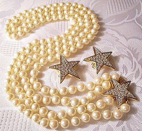 Joan rivers pearl crystal necklace earrings gold tone vintage for Joan rivers jewelry necklaces