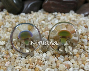 "Exotic Dark Green Mushroom Plugs Pyrex Glass 4g 2g 0g 00g 7/16"" 1/2"" 9/16"" 5/8"" 3/4"" + 5 mm 6 mm 8 mm 10 mm 12 mm 14 mm 16 mm 18 mm 20 mm +"