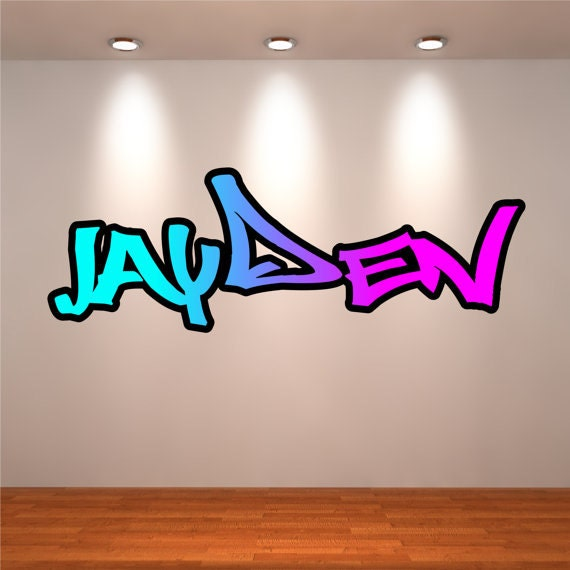 personalised graffiti name wall decals wall art sticker graffiti wall stickers zazzle com au