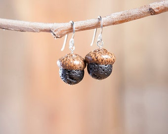 Acorn Earrings with Lava + Sterling Silver handmade by Nuttier Than A Squirrel – lava, pumice, black, volcano, Hawaii, Pompei, fairy, boho