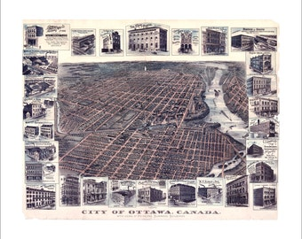 """Ottawa Ontario in 1895 Panoramic Bird's Eye View Map by the Toronto Lithograph Company 21x17"""" Reproduction"""