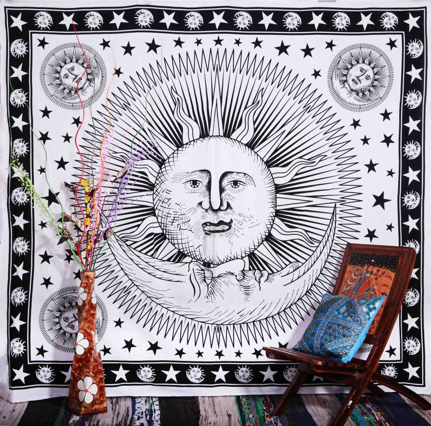 White Sun And Moon Tapestry Sun Moon Stars Tapestry by Aanjaneya