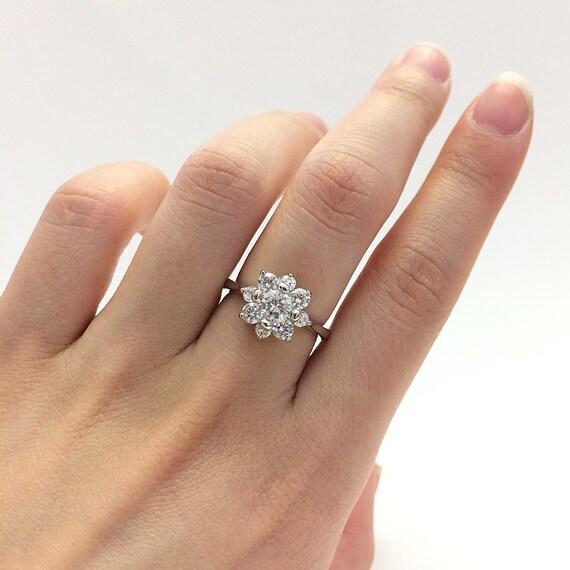 1 52 Carat Diamond Simulant Engagement Ring Flower by Besbelle