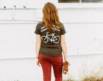 Bike lane tshirt for women, women's graphic tee, sharrows screenprint, cyclist shirt, Share the Road by Blackbird Tees