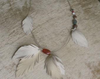Hippie Leather Hemp Carnelian Beaded Necklace