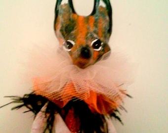 Primitive Lady Fox In Paper Mache And Couture Costume