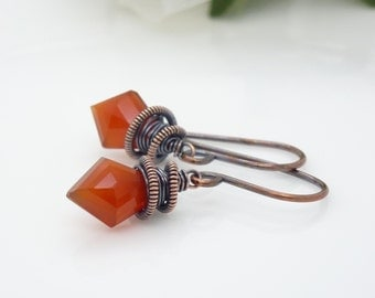 Orange chalcedony earrings, copper and burnt orange earrings, dark orange wire wrapped copper earrings, handmade wire wrap copper jewelry
