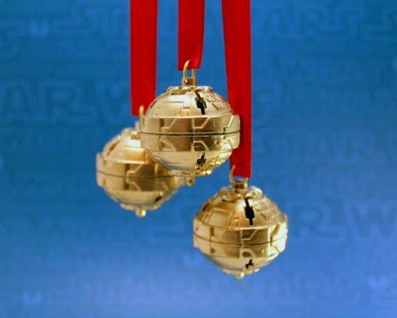 Star Wars Christmas Ornaments in Gold - Set of 3 Christmas Balls