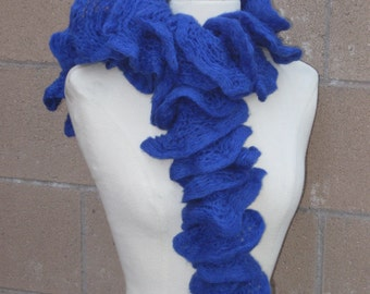 Royal Blue Ruffled Scarf | True Blue Frilly Knitted Scarf