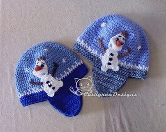 Earflaps Hat with Applique Snowman Olaf, 4 Sizes Baby- Adult, INSTANT DOWNLOAD Crochet Pattern