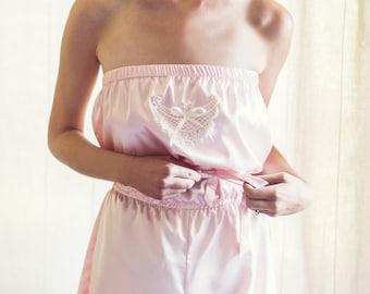 Sophie, Getting Ready Romper, Bridal Romper, Bridesmaids Romper, Wedding Romper, Pink Romper, Ivory Romper, Satin Romper, Bridesmaid Romper
