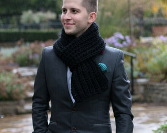 Men's Scarf, Women's Scarf, Chunky Scarf Black, Winter Accessories