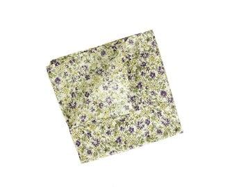 Lilac - Lavender/Yellow Floral Pocket Square