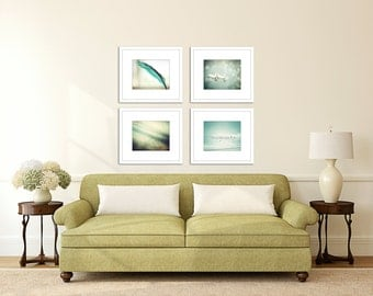 nature photography set teal wall art birds on a wire feather print living room bedroom fine art photography home decor
