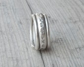 Sterling Silver Wide Band Twist Ring, Thick Solid Rounded Band Stackable Ring, Rustic Engagement Band Ring, Minimalist Men/Women Ring