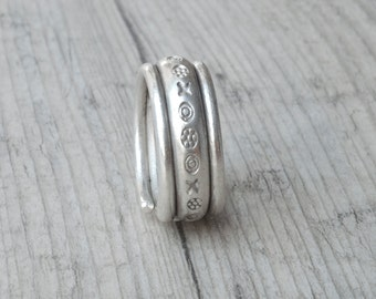 Wide Band Ring, Sterling Silver Twist Unisex Ring, Chunky Boho Wedding Band Ring, Rustic Engagement Ring, Men/Women Stacking Everyday Ring