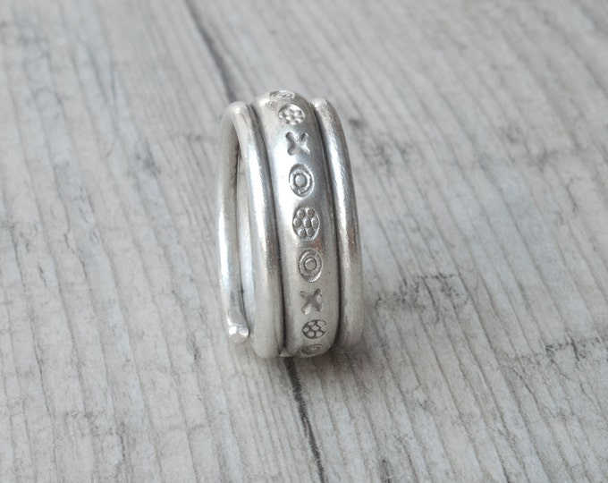Featured listing image: Wide Band Ring, Sterling Silver Twist Unisex Ring, Chunky Boho Wedding Band Ring, Rustic Engagement Ring, Men/Women Stacking Everyday Ring