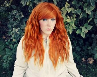 SALE Orange Ginger Wig | Long Red Wavy Auburn Hair | Perfect for Halloween, Mermaid, Cosplay, Boho and Indie styles | Pumpkin Spice