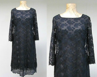Vintage 1960s Dress / 60s Mod Black Lace Cocktail Party Dress / Small