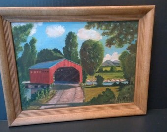 Vintage Covered Bridge Painting - Signed 9 x 12 Canvas in 11 x 14 Wood Frame - Maebelle Ekengren - Original Naïve Art