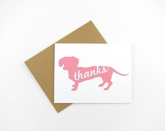 Pastel Dachshunds: Single or Set of 8 Thank You Cards