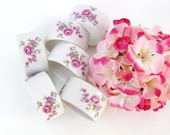 Vintage Napkin Rings, Ceramic Napkin Holders, Shafford Japan, Porcelain Table Decorations, Pink Roses - Set of 6