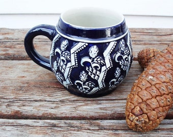 Vintage Cobalt Mug, Half Liter Stein, German Stein, Pottery Beer Mug,  Hops Plant Decor, Stoneware Glazed Mug