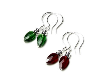 Swarovski Crystal Christmas Tree Bulb Earrings, Holiday Lights, Red, Green, Sterling Silver, Stocking Stuffer Jewelry, Gift Boxed, For Women