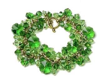 St. Patrick's Day Green Shamrock Bracelet, Swarovski Crystal Four Leaf Irish Clover, Lucky Gold Charm, Spring Peridot Jewelry Gift for Women