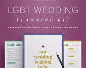LGBT Wedding Planning Kit – Editable Wedding To Do List, Gay Lesbian Wedding Planner Printable, Wedding Binder  //  PDF Printables
